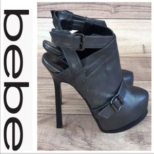 💕SALE💕Bebe Gray Stilleto Ankle Booties